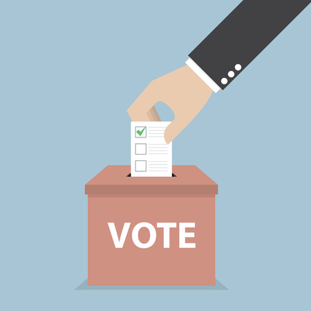 Businessman hand putting voting paper in the ballot box, Voting concept, VECTOR Çizim