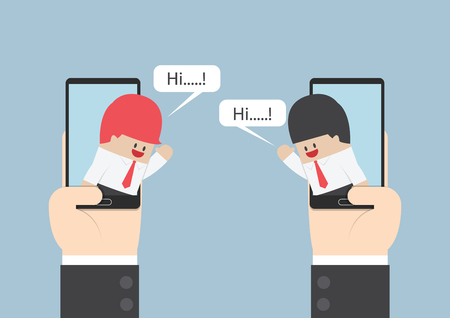 Two businessmen communicate on smartphone with speech bubble, VECTOR, EPS10