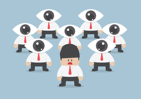 observe: businessman has been observed by eyeball head, VECTOR, EPS10 Illustration