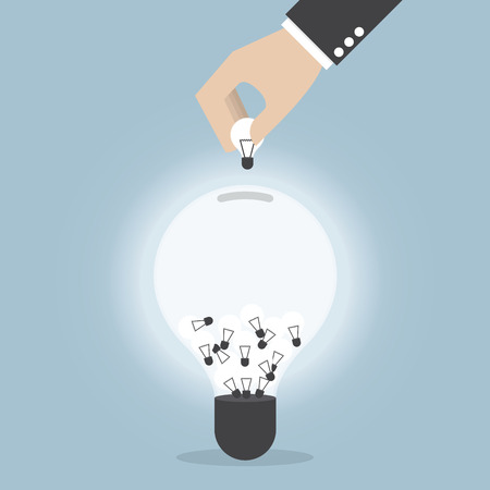 collecting: Businessman hand collecting light bulb of idea, VECTOR, EPS10