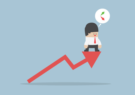 sales chart: Up or down, Businessman confusing about stock market chart, VECTOR,
