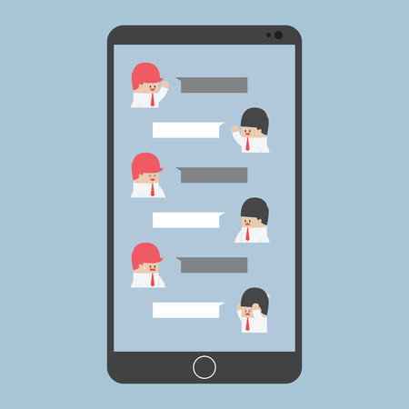 smartphone addiction: Businessman chatting on smartphone with blank speech, VECTOR, Illustration