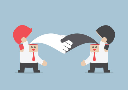 Businessman handshaking with each other, Brainstrom, Teamwork concept, VECTOR,  Vector