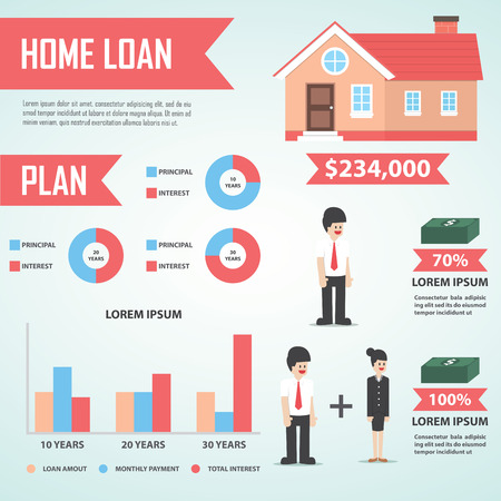 house mortgage: Home loan infographic design element, Real estate, VECTOR