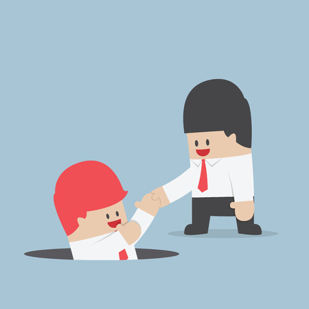 Businessman helping his friend by take him out from the hole, VECTOR. Çizim