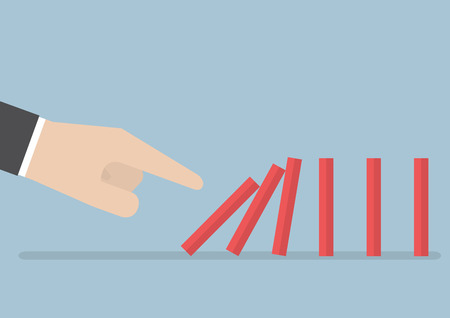 Businessman hand pushing the domino effect, VECTOR.