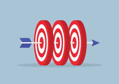 targets: Arrow hitting center of the three targets VECTOR EPS10 Illustration