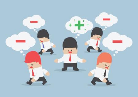 Denk positief zakenman omringd door negatief denken mensen