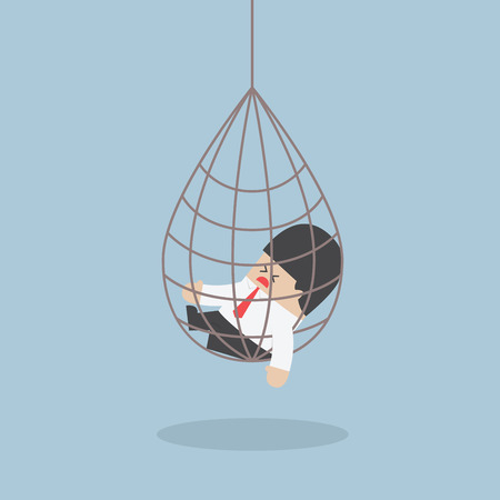 Businessman caught in a net trap VECTOR