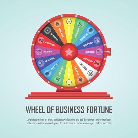 ruleta: Rueda de la fortuna infografía elemento de diseño Vectores