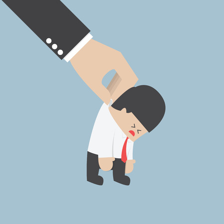 dissatisfied: Big hand holding a businessman VECTOR  Illustration