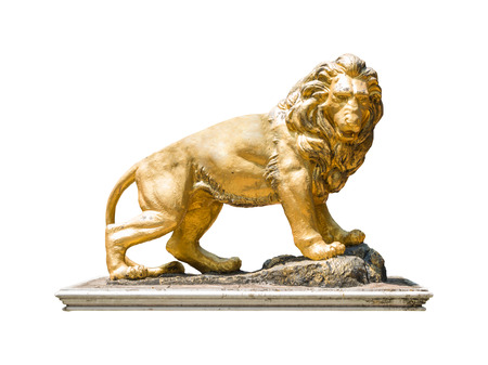 lions rock: Golden lion statue isolate on white background with clipping path Stock Photo