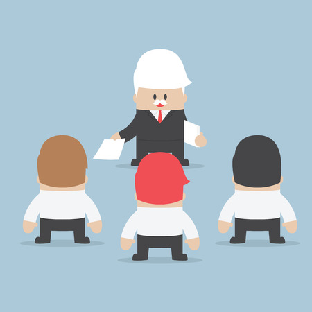 Businessman divide up the work to his employee, Delegation concept, VECTOR,