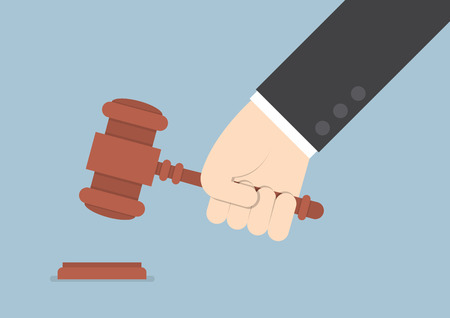 Businessman hand knocking judge's gavel VECTOR EPS10