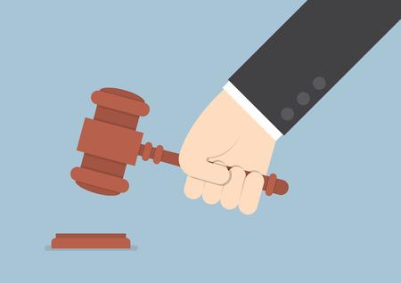 honestidad: Empresario mano golpeando Mazo del juez VECTOR EPS10 Vectores