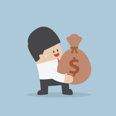 Businessman holding a money bag with dollar sign VECTOR 向量圖像