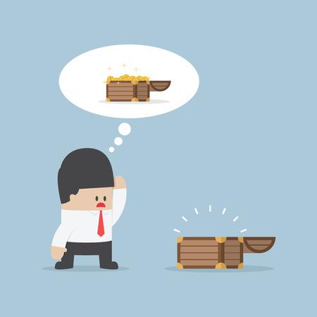 disappear: Businessman and empty treasure box VECTOR