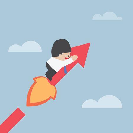 Businessman on growing graph success concept VECTOR