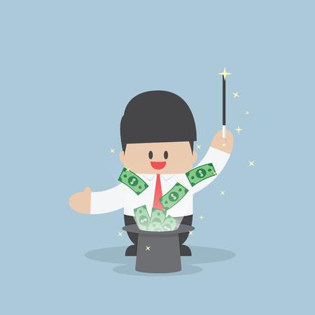money flying: Hombre de negocios con el dinero que volaba de sombrero mágico