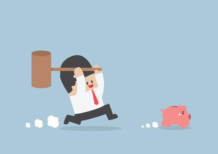 white piggy bank: Businessman try to smashing piggy bank VECTOR EPS10