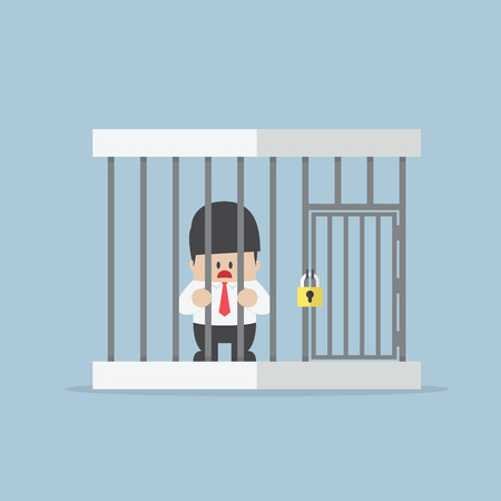 trapped: Businessman trapped in a cage VECTOR EPS10