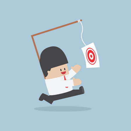 Businessman chasing his target Motivation concept VECTOR  Illustration