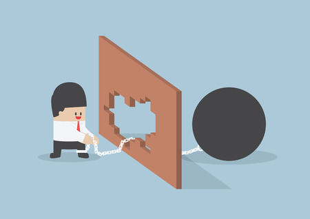 Turn crisis into opportunity Businessman use metal ball with chain destroy the wall Vector