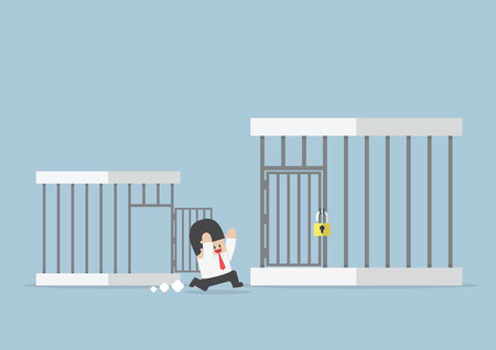 bigger: Businessman runing out from small cage to the bigger cage  Illustration