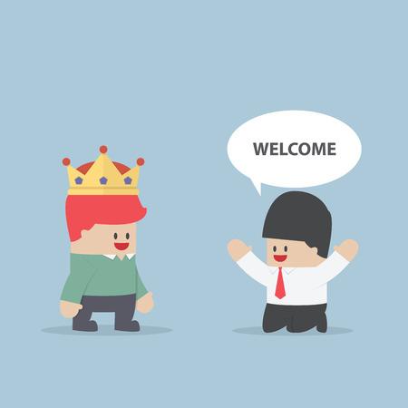 rey: El cliente es el rey del hombre de negocios de rodillas frente a su cliente