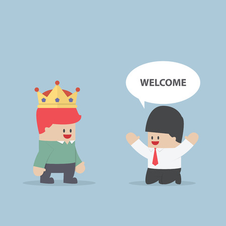 customer support: The customer is king Businessman kneeling in front of his customer