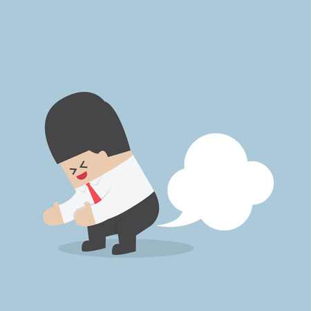 Businessman farting with blank balloon out from his bottom  Illustration