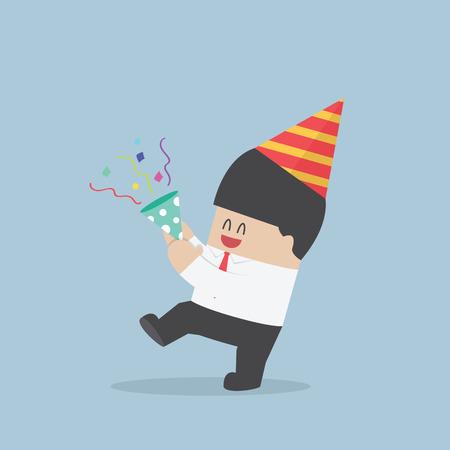 Businessman happy in celebration party VECTOR EPS10 Stock Illustratie