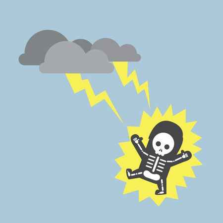 Businessman hit by lightning strike VECTOR EPS10 Illustration