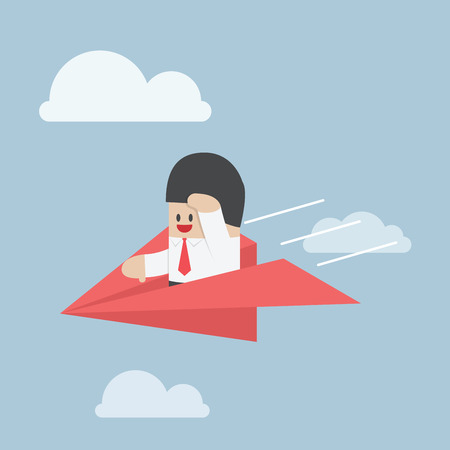 Businessman is flying on paper airplane and looking forward, VECTOR, EPS10