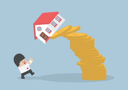 person falling: Businessman and falling house and coins, Real estate investing concept, VECTOR, EPS10