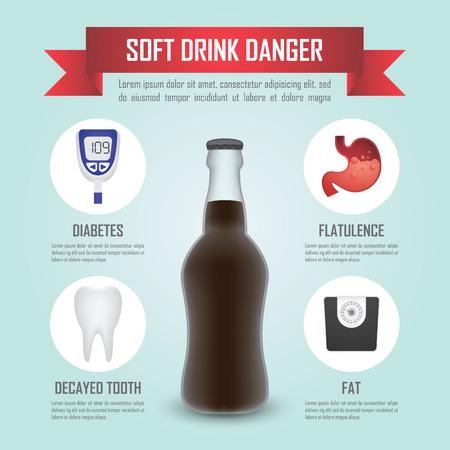 decayed teeth: Peligro de bebidas infograf�a plantilla, vector, EPS10