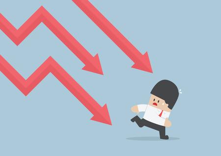 run away: Businessman run away from falling graph, Downtrend, VECTOR, EPS10
