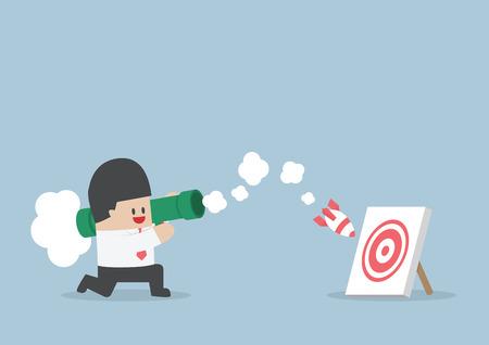 Businessman use bazooka rocket launcher destroy the target, VECTOR, Illustration