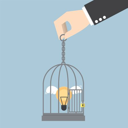 stuck: Light bulb of idea locked in a cage, VECTOR,