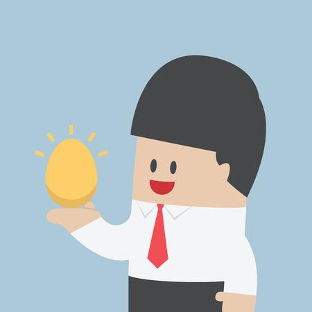 huevo caricatura: El hombre de negocios que sostiene el huevo de oro en la mano, vector, Vectores
