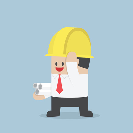 worker person: Businessman in yellow safety helmet with sheet rolls, Architect, Engineer concept, VECTOR  Illustration