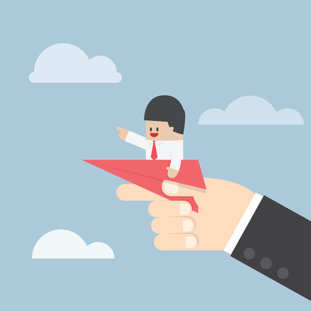 Businessman sitting on paper plane with big hand ready to throw, VECTOR, EPS10 Stock Illustratie