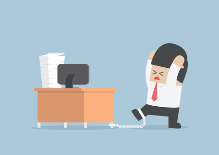 Businessman chained to the desk, VECTOR, EPS10