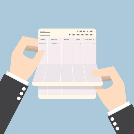 cuenta bancaria: Empresario manos sosteniendo libreta sin saldo, VECTOR, EPS10