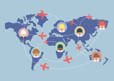 世界地図、ベクトル、EPS10 上のビジネスマンおよび飛行機のルート  イラスト・ベクター素材