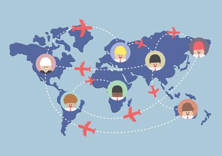 avion caricatura: Hombre de negocios y billetes de rutas en el mapa del mundo, vector, EPS10
