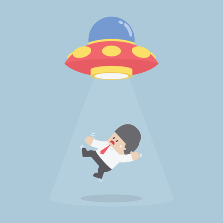 abducted: Businessman abducted by Alien spaceship or UFO, VECTOR, EPS10 Illustration