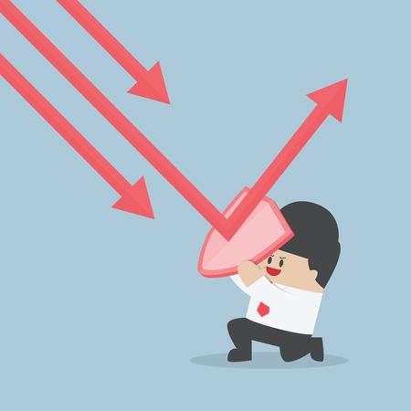 Zakenman houden schild te voorkomen dat naar beneden trend grafiek om zijn winst, vector, EPS10 beschermen Stockfoto - 43825404