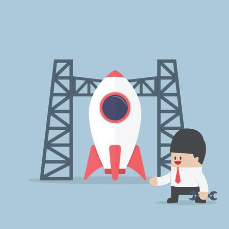 build up: Rocket startup, Businessman build space shuttle, VECTOR, EPS10 Illustration