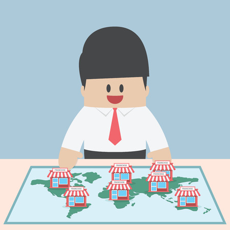 Businessman want to expand his business, Franchise Concept, VECTOR, EPS10  イラスト・ベクター素材